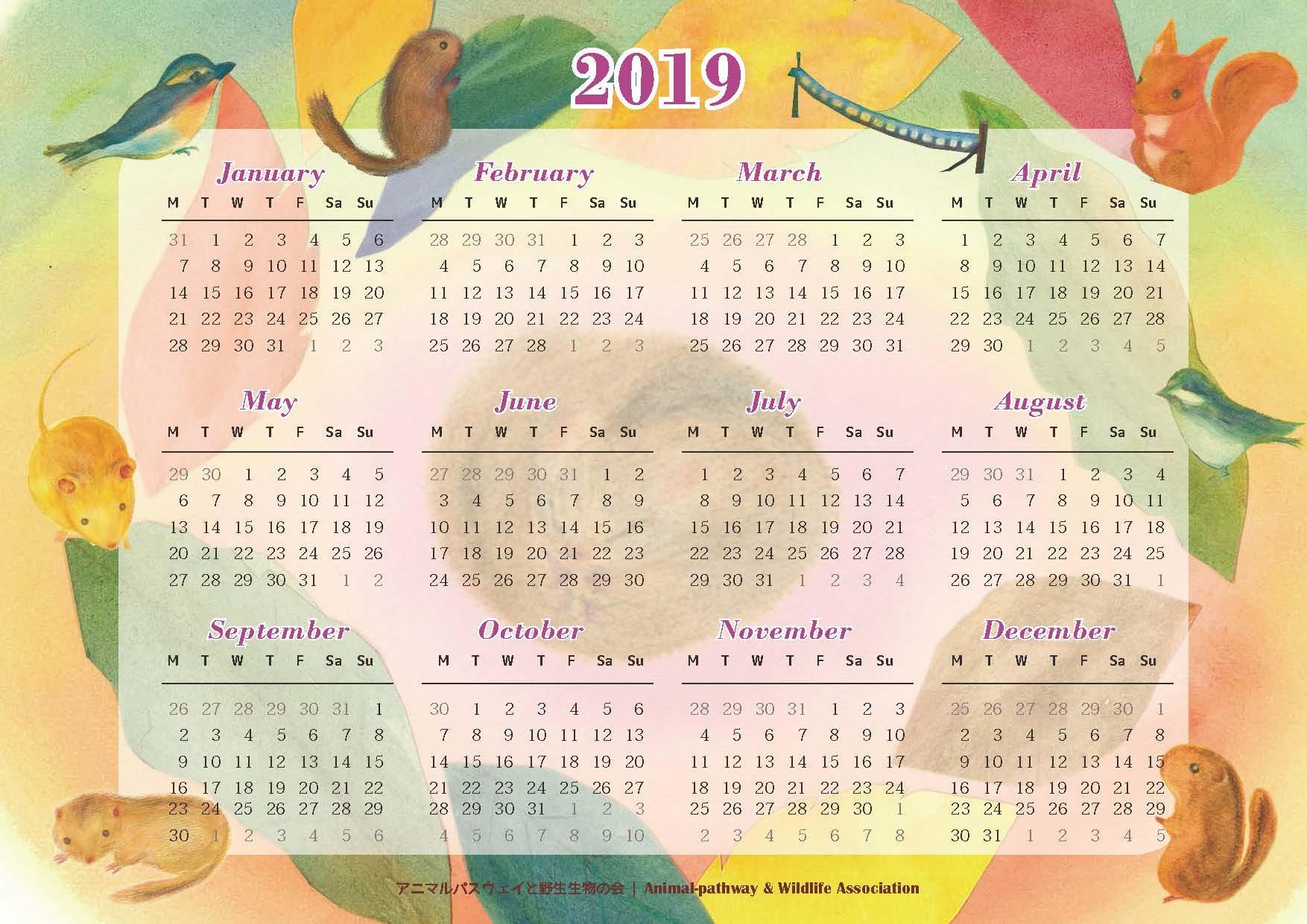 アニマルパスウェイと野生生物の会|カレンダー2019